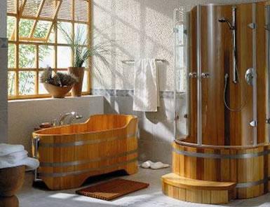 baignoire et douche en bois