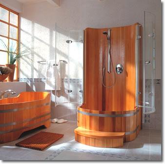 cabine de douche en bois